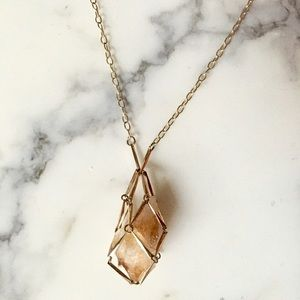 Anthropologie caged crystal long necklace